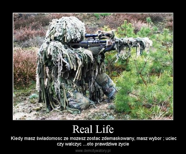 Real Life –  Kiedy masz świadomosc ze mozesz zostac zdemaskowany, masz wybor ; uciecczy walczyc ...oto prawdziwe zycie