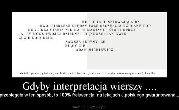 Gdyby Interpretacja Wierszy Demotywatorypl