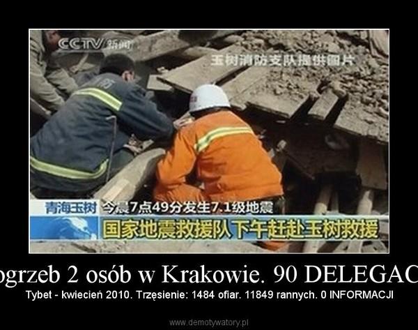 Pogrzeb 2 osób w Krakowie. 90 DELEGACJI – Tybet - kwiecień 2010. Trzęsienie: 1484 ofiar. 11849 rannych. 0 INFORMACJI