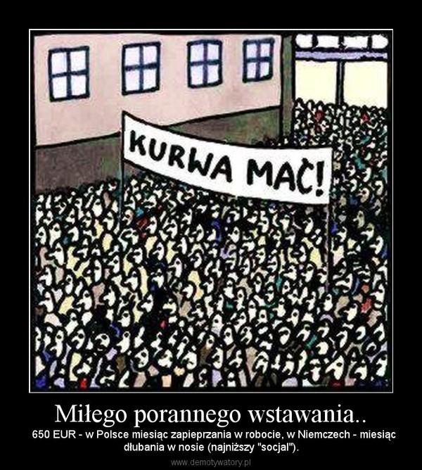 """Miłego porannego wstawania.. –   650 EUR - w Polsce miesiąc zapieprzania w robocie, w Niemczech - miesiącdłubania w nosie (najniższy """"socjal"""")."""