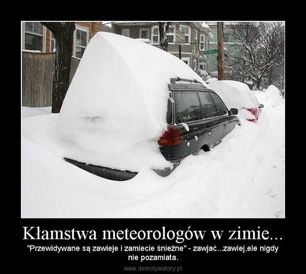 """Kłamstwa meteorologów w zimie... – """"Przewidywane są zawieje i zamiecie śnieżne"""" - zawjać...zawiej,ele nigdynie pozamiata."""