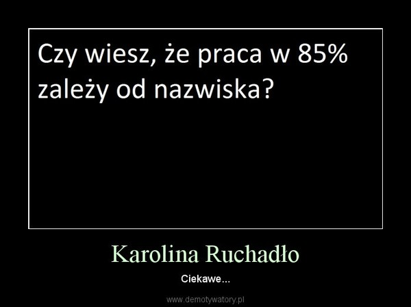 Karolina Ruchadło – Ciekawe...