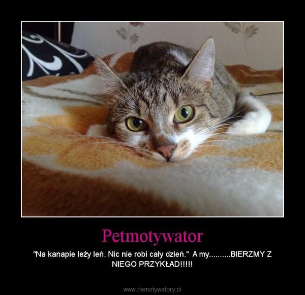 """Petmotywator – """"Na kanapie leży leń. Nic nie robi cały dzień.""""  A my..........BIERZMY Z NIEGO PRZYKŁAD!!!!!"""