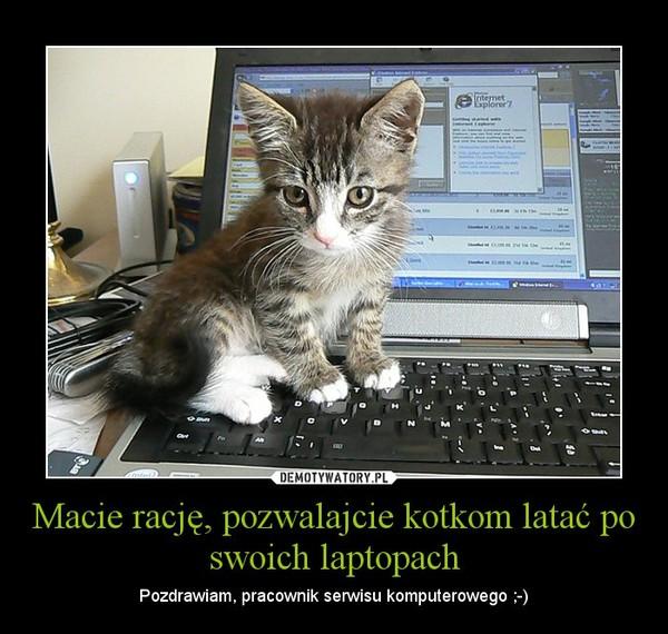 Macie rację, pozwalajcie kotkom latać po swoich laptopach – Pozdrawiam, pracownik serwisu komputerowego ;-)