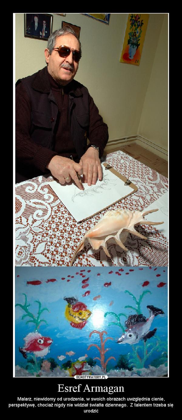 Esref Armagan – Malarz, niewidomy od urodzenia, w swoich obrazach uwzględnia cienie, perspektywę, chociaż nigdy nie widział światła dziennego.  Z talentem trzeba się urodzić