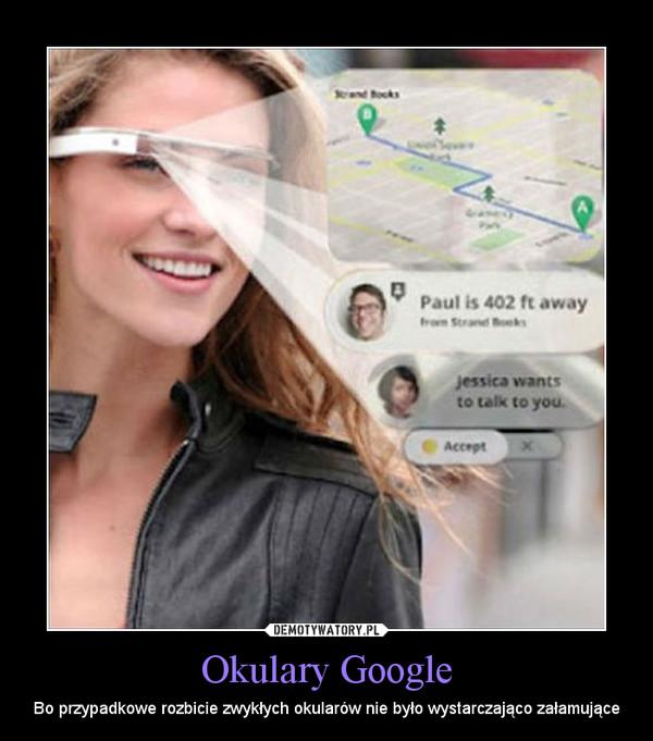 Okulary Google – Bo przypadkowe rozbicie zwykłych okularów nie było wystarczająco załamujące