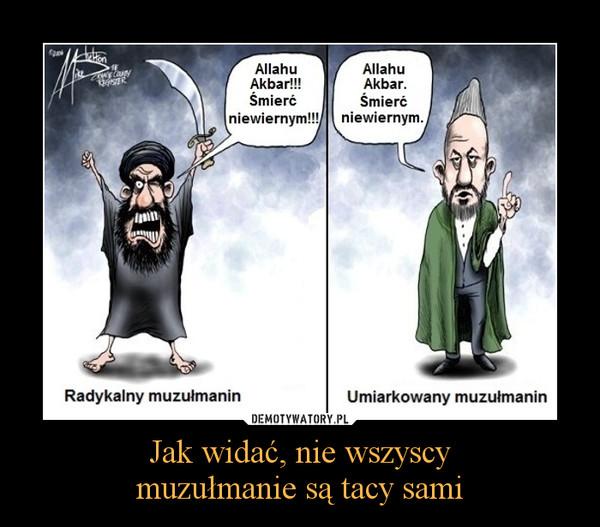 Jak widać, nie wszyscymuzułmanie są tacy sami –