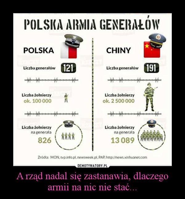 A rząd nadal się zastanawia, dlaczego armii na nic nie stać... –