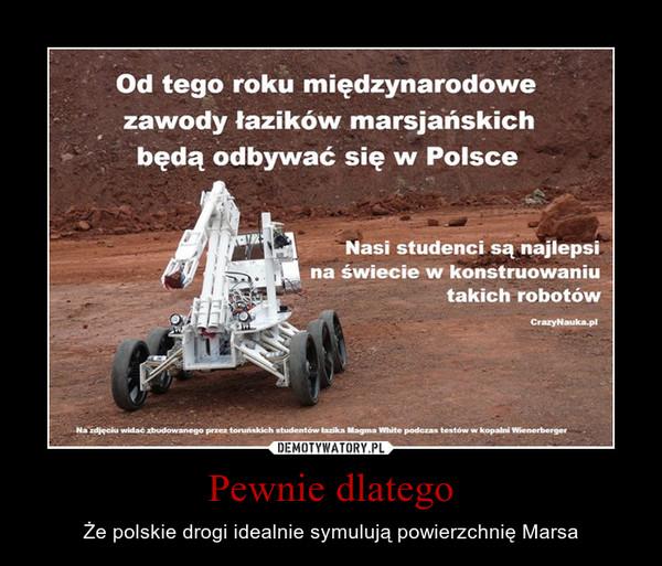 Pewnie dlatego – Że polskie drogi idealnie symulują powierzchnię Marsa