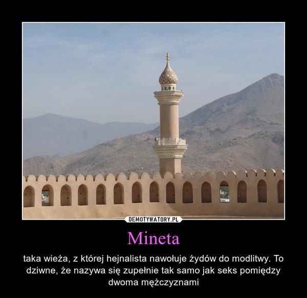 Mineta – taka wieża, z której hejnalista nawołuje żydów do modlitwy. To dziwne, że nazywa się zupełnie tak samo jak seks pomiędzy dwoma mężczyznami