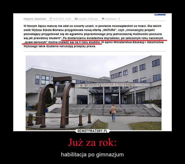 Już za rok: – habilitacja po gimnazjum