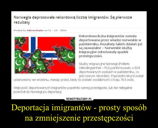 Deportacja imigrantów - prosty sposób na zmniejszenie przestępczości –