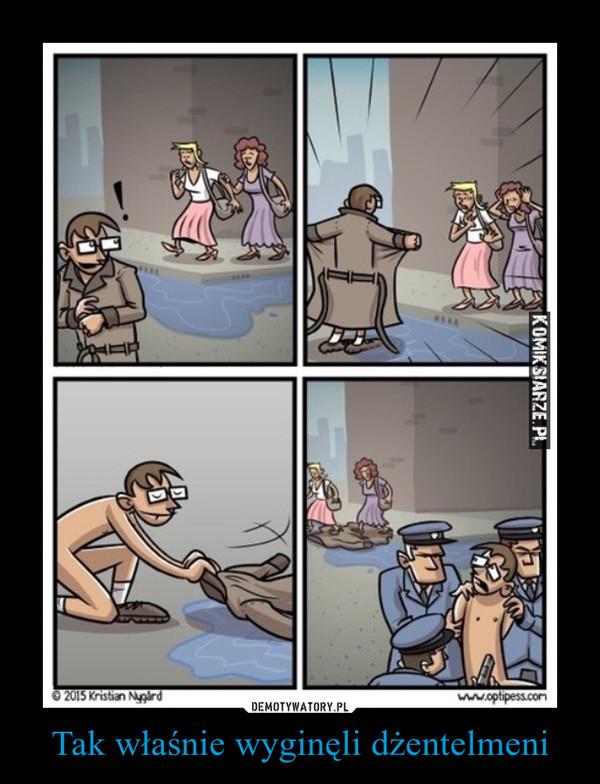 Tak właśnie wyginęli dżentelmeni –