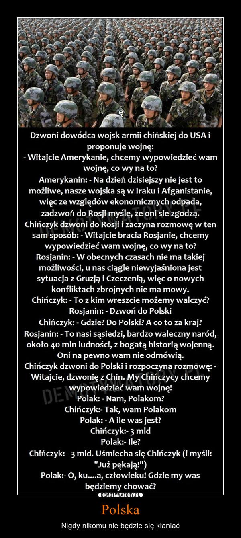 Polska – Nigdy nikomu nie będzie się kłaniać
