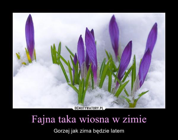 Fajna taka wiosna w zimie – Gorzej jak zima będzie latem