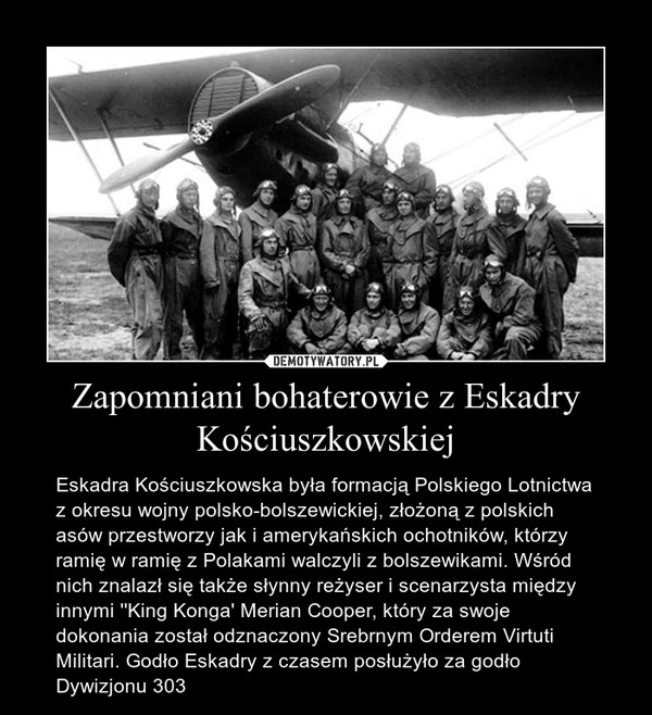 Zapomniani bohaterowie z Eskadry Kościuszkowskiej – Eskadra Kościuszkowska była formacją Polskiego Lotnictwa z okresu wojny polsko-bolszewickiej, złożoną z polskich asów przestworzy jak i amerykańskich ochotników, którzy ramię w ramię z Polakami walczyli z bolszewikami. Wśród nich znalazł się także słynny reżyser i scenarzysta między innymi ''King Konga' Merian Cooper, który za swoje dokonania został odznaczony Srebrnym Orderem Virtuti Militari. Godło Eskadry z czasem posłużyło za godło Dywizjonu 303