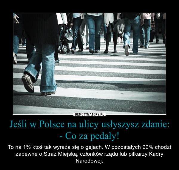 Jeśli w Polsce na ulicy usłyszysz zdanie: - Co za pedały! – To na 1% ktoś tak wyraża się o gejach. W pozostałych 99% chodzi zapewne o Straż Miejską, członków rządu lub piłkarzy Kadry Narodowej.