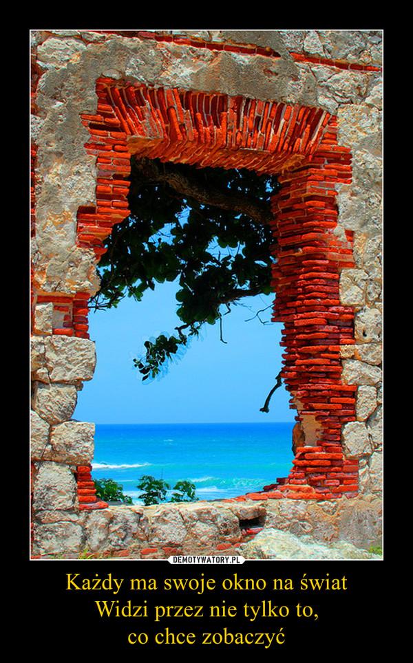 Każdy ma swoje okno na światWidzi przez nie tylko to,co chce zobaczyć –