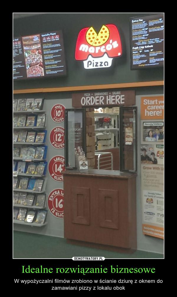 Idealne rozwiązanie biznesowe – W wypożyczalni filmów zrobiono w ścianie dziurę z oknem do zamawiani pizzy z lokalu obok