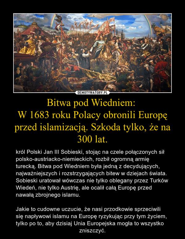 Bitwa pod Wiedniem: W 1683 roku Polacy obronili Europę przed islamizacją. Szkoda tylko, że na 300 lat. – król Polski Jan III Sobieski, stojąc na czele połączonych sił polsko-austriacko-niemieckich, rozbił ogromną armię turecką. Bitwa pod Wiedniem była jedną z decydujących, najważniejszych i rozstrzygających bitew w dziejach świata. Sobieski uratował wówczas nie tylko oblegany przez Turków Wiedeń, nie tylko Austrię, ale ocalił całą Europę przed nawałą zbrojnego islamu.Jakie to cudowne uczucie, że nasi przodkowie sprzeciwili się napływowi islamu na Europę ryzykując przy tym życiem, tylko po to, aby dzisiaj Unia Europejska mogła to wszystko                                        zniszczyć.