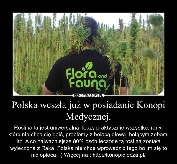 Polska weszła już w posiadanie Konopi Medycznej. – Roślina ta jest uniwersalna, leczy praktycznie wszystko, rany, które nie chcą się goić, problemy z bolącą głową, bolącym zębem, itp. A co najważniejsze 80% osób leczone tą rośliną została wyleczona z Raka! Polska nie chce wprowadzić tego bo im się to nie opłaca. :) Więcej na : http://konopielecza.pl/