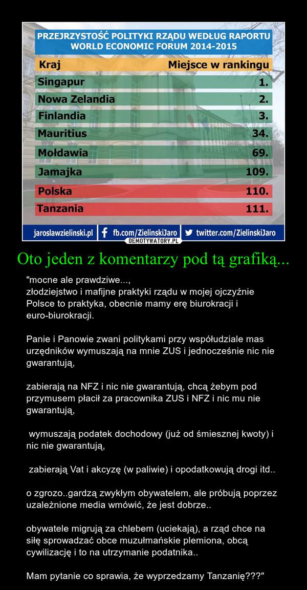 """Oto jeden z komentarzy pod tą grafiką... – """"mocne ale prawdziwe...,złodziejstwo i mafijne praktyki rządu w mojej ojczyźnie Polsce to praktyka, obecnie mamy erę biurokracji i euro-biurokracji. Panie i Panowie zwani politykami przy współudziale mas urzędników wymuszają na mnie ZUS i jednocześnie nic nie gwarantują, zabierają na NFZ i nic nie gwarantują, chcą żebym pod przymusem płacił za pracownika ZUS i NFZ i nic mu nie gwarantują, wymuszają podatek dochodowy (już od śmiesznej kwoty) i nic nie gwarantują, zabierają Vat i akcyzę (w paliwie) i opodatkowują drogi itd.. o zgrozo..gardzą zwykłym obywatelem, ale próbują poprzez uzależnione media wmówić, że jest dobrze.. obywatele migrują za chlebem (uciekają), a rząd chce na siłę sprowadzać obce muzułmańskie plemiona, obcą cywilizację i to na utrzymanie podatnika.. Mam pytanie co sprawia, że wyprzedzamy Tanzanię???"""""""