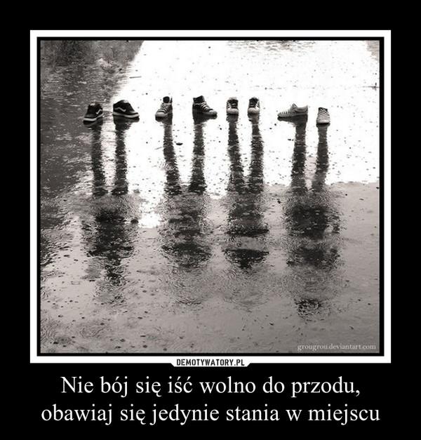 Nie bój się iść wolno do przodu,obawiaj się jedynie stania w miejscu –