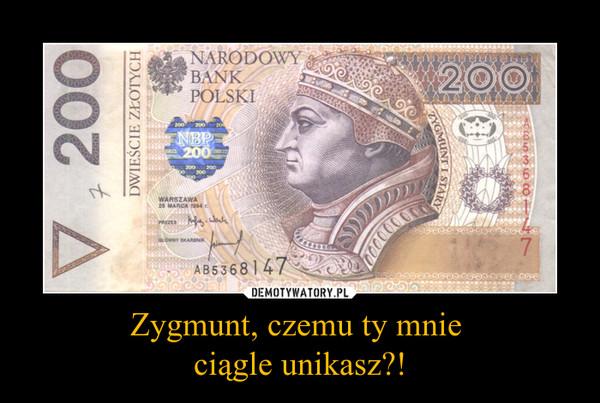 Zygmunt, czemu ty mnie ciągle unikasz?! –