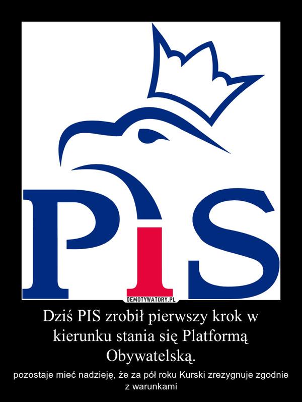 Dziś PIS zrobił pierwszy krok w kierunku stania się Platformą Obywatelską. – pozostaje mieć nadzieję, że za pół roku Kurski zrezygnuje zgodnie z warunkami