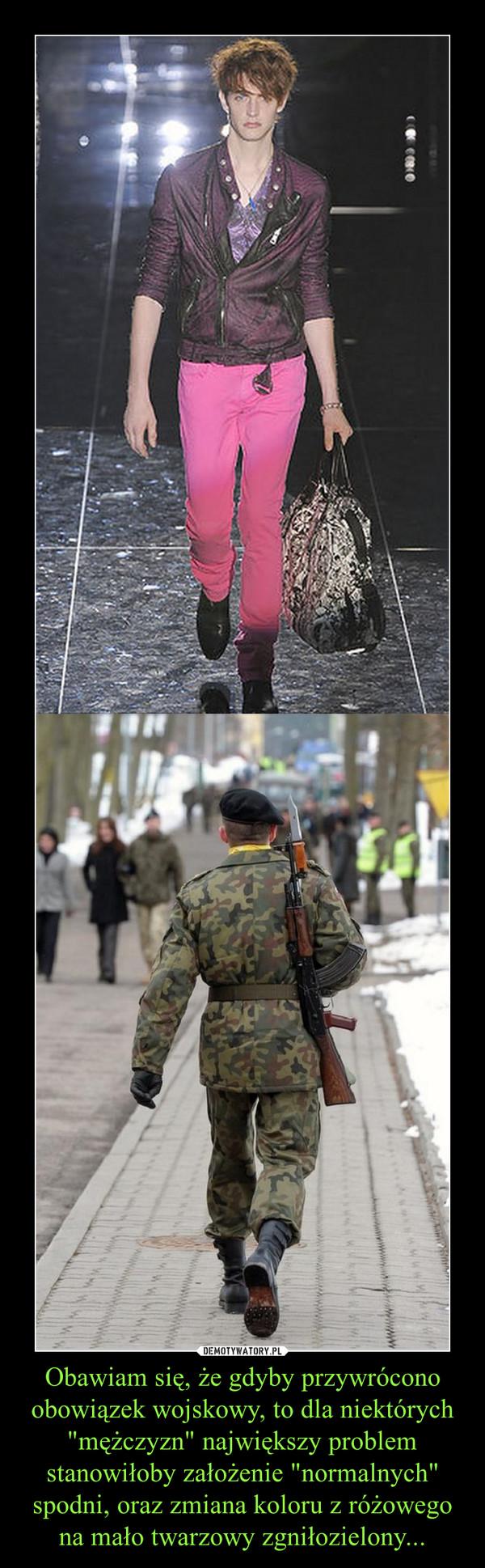"""Obawiam się, że gdyby przywrócono obowiązek wojskowy, to dla niektórych """"mężczyzn"""" największy problem stanowiłoby założenie """"normalnych"""" spodni, oraz zmiana koloru z różowego na mało twarzowy zgniłozielony... –"""