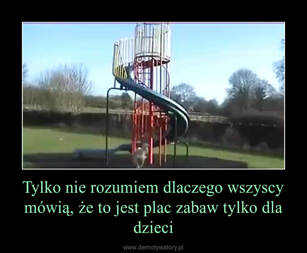 Tylko nie rozumiem dlaczego wszyscy mówią, że to jest plac zabaw tylko dla dzieci –