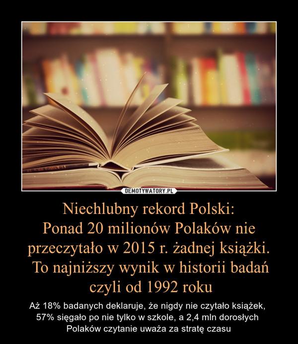 Niechlubny rekord Polski:Ponad 20 milionów Polaków nie przeczytało w 2015 r. żadnej książki. To najniższy wynik w historii badań czyli od 1992 roku – Aż 18% badanych deklaruje, że nigdy nie czytało książek, 57% sięgało po nie tylko w szkole, a 2,4 mln dorosłych Polaków czytanie uważa za stratę czasu