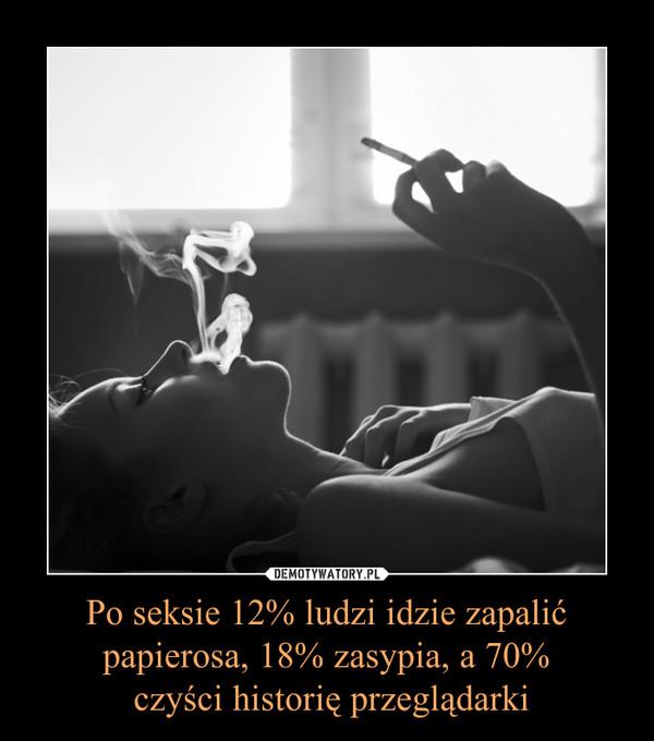 Po seksie 12% ludzi idzie zapalić papierosa, 18% zasypia, a 70% czyści historię przeglądarki –