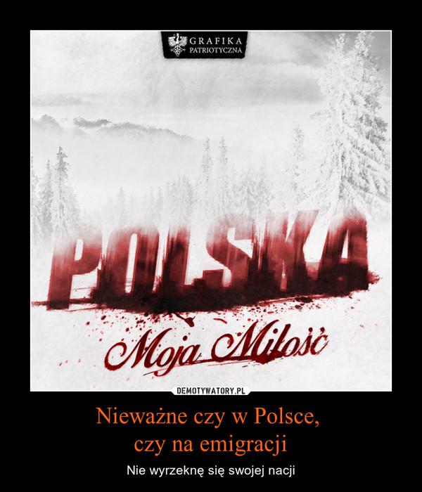 Nieważne czy w Polsce, czy na emigracji – Nie wyrzeknę się swojej nacji