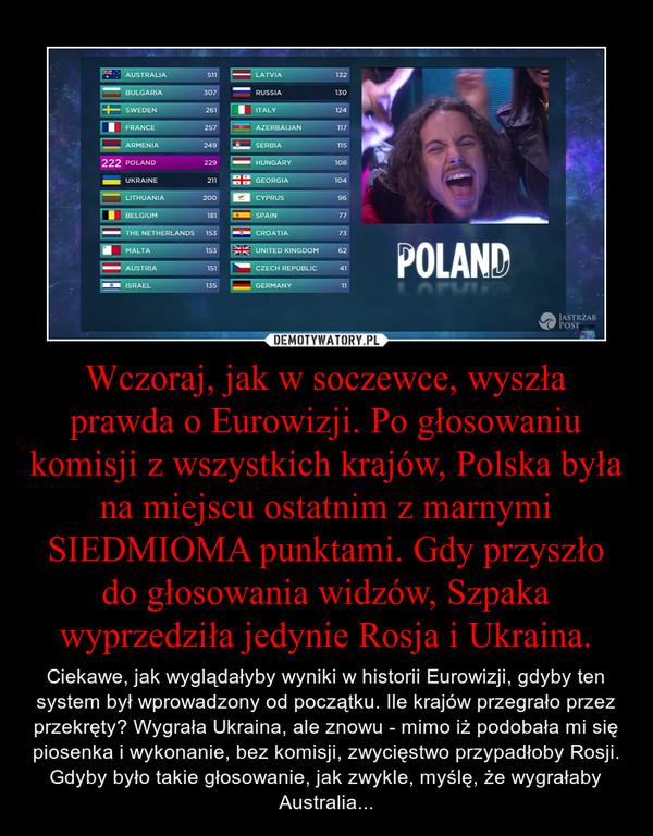 Wczoraj, jak w soczewce, wyszła prawda o Eurowizji. Po głosowaniu komisji z wszystkich krajów, Polska była na miejscu ostatnim z marnymi SIEDMIOMA punktami. Gdy przyszło do głosowania widzów, Szpaka wyprzedziła jedynie Rosja i Ukraina. – Ciekawe, jak wyglądałyby wyniki w historii Eurowizji, gdyby ten system był wprowadzony od początku. Ile krajów przegrało przez przekręty? Wygrała Ukraina, ale znowu - mimo iż podobała mi się piosenka i wykonanie, bez komisji, zwycięstwo przypadłoby Rosji. Gdyby było takie głosowanie, jak zwykle, myślę, że wygrałaby Australia...