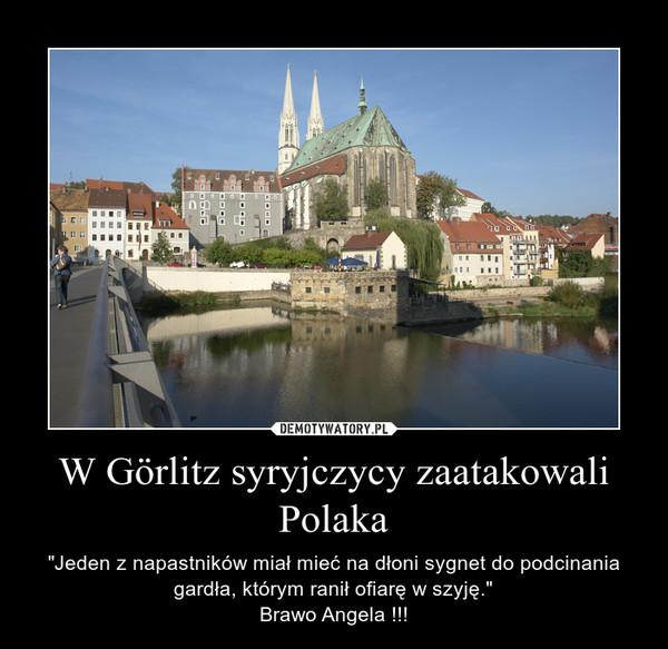 """W Görlitz syryjczycy zaatakowali Polaka – """"Jeden z napastników miał mieć na dłoni sygnet do podcinania gardła, którym ranił ofiarę w szyję.""""Brawo Angela !!!"""