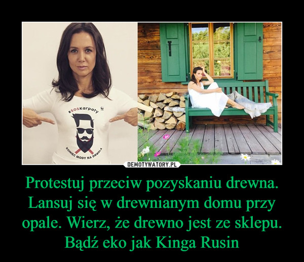 Protestuj przeciw pozyskaniu drewna. Lansuj się w drewnianym domu przy opale. Wierz, że drewno jest ze sklepu. Bądź eko jak Kinga Rusin –