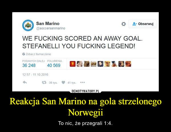 Reakcja San Marino na gola strzelonego Norwegii – To nic, że przegrali 1:4.