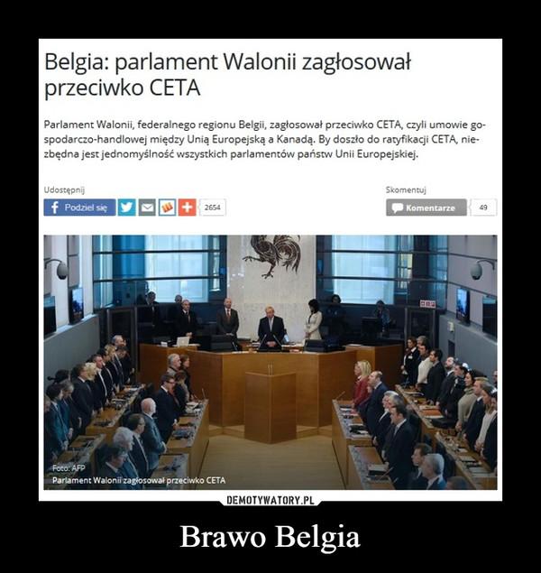 Brawo Belgia –  Belgia: parlament Walonii zagłosowałprzeciwko CETAParlament Walonii, federalnego regionu Belgii, zagłosował przeciwko CETA, czyli umowie gospodarczo-handlowej między Unią Europejską a Kanadą. By doszło do ratyfikacji CETA, niezbędna jest jednomyślność wszystkich parlamentów państw Unii Europejskiej.