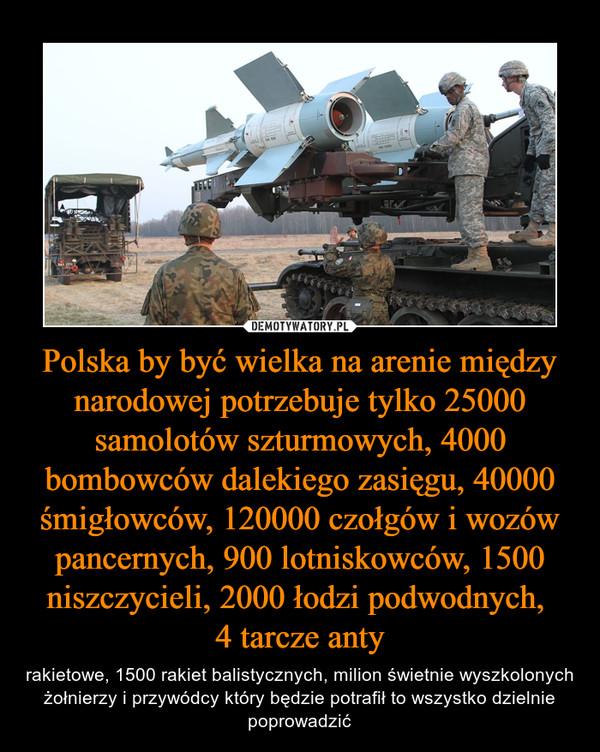 Polska by być wielka na arenie między narodowej potrzebuje tylko 25000 samolotów szturmowych, 4000 bombowców dalekiego zasięgu, 40000 śmigłowców, 120000 czołgów i wozów pancernych, 900 lotniskowców, 1500 niszczycieli, 2000 łodzi podwodnych, 4 tarcze anty – rakietowe, 1500 rakiet balistycznych, milion świetnie wyszkolonych żołnierzy i przywódcy który będzie potrafił to wszystko dzielnie poprowadzić