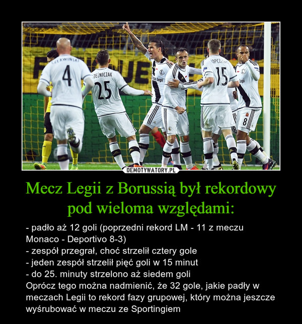 Mecz Legii z Borussią był rekordowy pod wieloma względami: – - padło aż 12 goli (poprzedni rekord LM - 11 z meczu Monaco - Deportivo 8-3)- zespół przegrał, choć strzelił cztery gole- jeden zespół strzelił pięć goli w 15 minut- do 25. minuty strzelono aż siedem goliOprócz tego można nadmienić, że 32 gole, jakie padły w meczach Legii to rekord fazy grupowej, który można jeszcze wyśrubować w meczu ze Sportingiem
