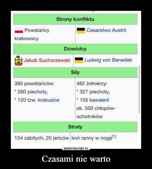 Czasami nie warto –  Powstańcy KrakowscyCesarstwo AustriiJakub SuchorzewskiLudwig von Benedek154 zabitych, 20 jeńcówkoń ranny w nogę