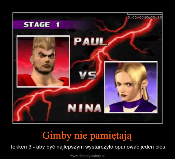 Gimby nie pamiętają – Tekken 3 - aby być najlepszym wystarczyło opanować jeden cios