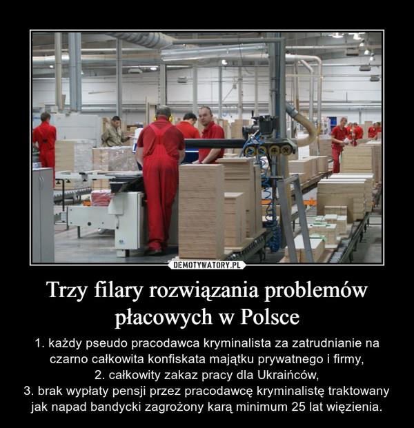 Trzy filary rozwiązania problemów płacowych w Polsce – 1. każdy pseudo pracodawca kryminalista za zatrudnianie na czarno całkowita konfiskata majątku prywatnego i firmy,2. całkowity zakaz pracy dla Ukraińców,3. brak wypłaty pensji przez pracodawcę kryminalistę traktowany jak napad bandycki zagrożony karą minimum 25 lat więzienia.