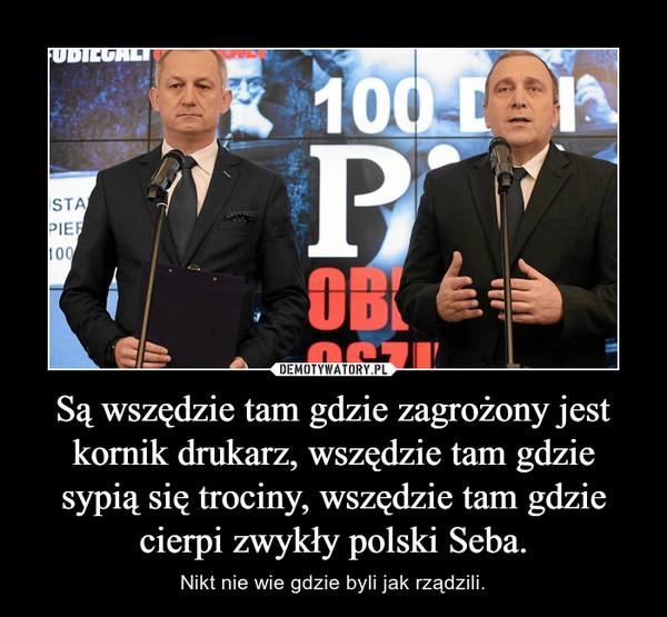 Są wszędzie tam gdzie zagrożony jest kornik drukarz, wszędzie tam gdzie sypią się trociny, wszędzie tam gdzie cierpi zwykły polski Seba. – Nikt nie wie gdzie byli jak rządzili.