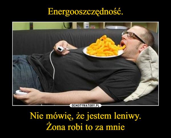 Nie mówię, że jestem leniwy.Żona robi to za mnie –