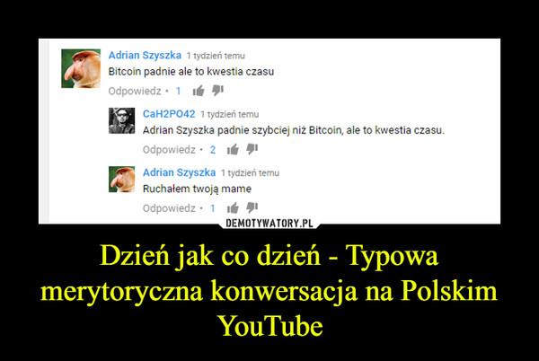 Dzień jak co dzień - Typowa merytoryczna konwersacja na Polskim YouTube –