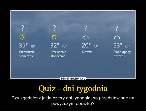 Quiz - dni tygodnia – Czy zgadniesz jakie cztery dni tygodnia, są przedstawione na powyższym obrazku?