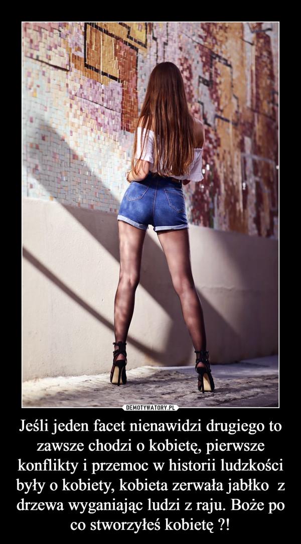 Jeśli jeden facet nienawidzi drugiego to zawsze chodzi o kobietę, pierwsze konflikty i przemoc w historii ludzkości były o kobiety, kobieta zerwała jabłko  z drzewa wyganiając ludzi z raju. Boże po co stworzyłeś kobietę ?! –