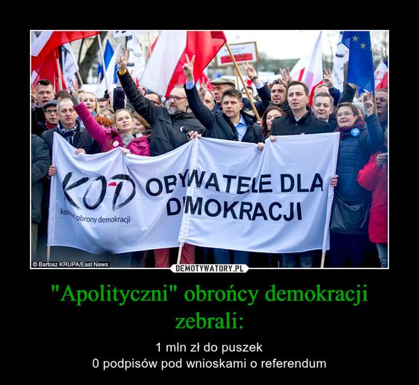 """""""Apolityczni"""" obrońcy demokracji zebrali: – 1 mln zł do puszek0 podpisów pod wnioskami o referendum"""